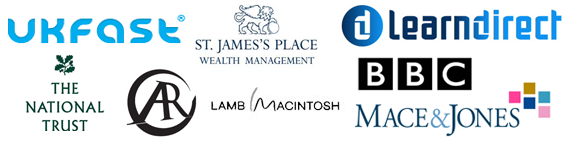 Previous Personal/Business Development Clients logos including BBC, St James Palace, UK Fast, Mace&Jones, National Trust & Lamb Macintosh
